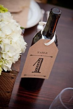 Wine-bottle table numbers - easy to DIY   To see my table number holders and for wedding inspiration: www.fb.com/labolaweddings
