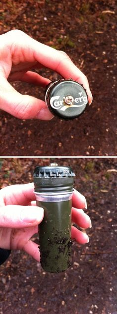 A sneaky micro camo'd with a bottle cap. The current no burying part of a cache or making holes guidelines might make the hiding of new caches like this harder though. (Victoria manley pic) #IBGCp