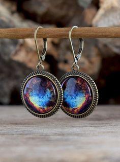 Space earrings, Universe dangle earrings, Multicolor earrings, Glass galaxy earrings, Space jewelry, Universe jewelry, Galaxy jewelry