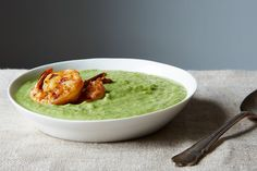 Green Gazpacho (cold soup) with Chili Cumin Shrimp - this sounds great! Gazpacho, Soup Recipes, Cooking Recipes, Healthy Recipes, Delicious Recipes, Food52 Recipes, Healthy Meals, Yummy Food, Spicy Shrimp Recipes
