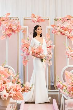 """All the lovely shades of pink that dominate the floral and decor in our """"Think. Luxury Wedding, Gold Wedding, Floral Wedding, Wedding Flowers, Wedding Dresses, Wedding Stage, Wedding Ceremony, Wedding Arches, Decoration Inspiration"""