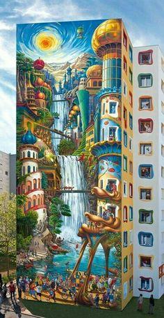 Building Art, Street Art Graffiti, Urban Art, Vans, Painting, Murals, Pictures, Mural Wall, Street Art