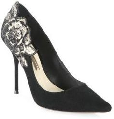 Sophia Webster Winona Floral-Embroidered Suede Point-Toe Pumps
