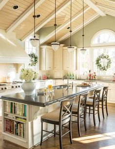 I absolutely LOVE this kitchen. I'm a sucker for this green but the color on the paneled ceiling could also be good. BEAUTIFUL. | Kitchen-Design-Tips