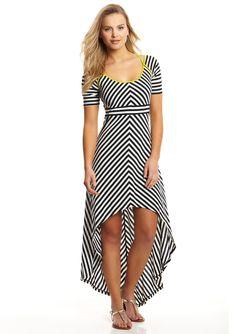 ideeli | GUESS Short Sleeve Striped Maxi Dress