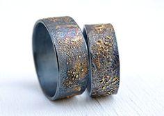 unique wedding bands gold silver molten wedding ring by CrazyAssJD