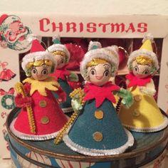 Christmas Figurines, Vintage Christmas Ornaments, Retro Christmas, Vintage Holiday, Christmas Baubles, Christmas Decorations, Christmas Past, Christmas Stars, Old Fashioned Christmas