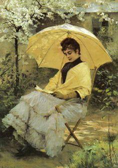 1886 - Albert EDELFELT - Jeune femme lisant sous parasol.