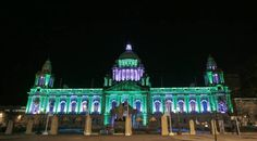 Belfast City Hall was illuminated green and white to celebrate boxer Carl Frampton's world title win