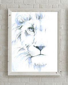 Draw Lions White Lion watercolor Print - Abstract lion painting with hints of grey and blue. Perfect home decor, gender neutral painting. Watercolor Lion, Abstract Watercolor, Painting Abstract, Tattoo Watercolor, Lion Painting, Lion Art, Simple Art, Animal Drawings, Original Paintings
