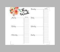 Printable Weekly Planner Inserts Midori Weekly Planner