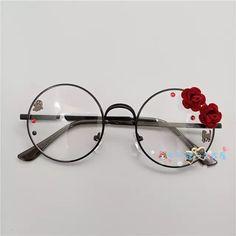 cec192e01 R$ 22.31 22% de desconto|Feitas à mão o original lolita harajuku irmã macio  doce Japonês meninas caixa redonda cherry blossom colocar óculos cos que  gay ...