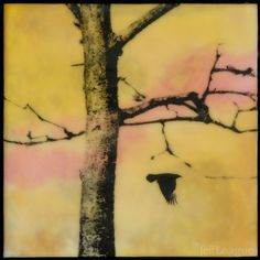Encaustic mixed media fine art photography of bird and bare tree in yellow sky with orange and pink. by Jeff League