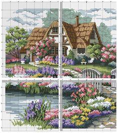 Cross Stitch House, Cross Stitch Art, Cross Stitch Alphabet, Simple Cross Stitch, Cross Stitch Flowers, Modern Cross Stitch, Counted Cross Stitch Patterns, Cross Stitch Designs, Cross Stitching