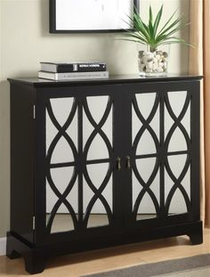 Powell Furniture - 2-Door Mirrored Glass Console in Black Finish