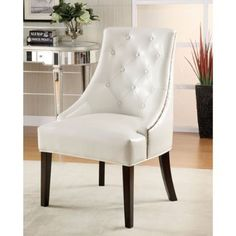 Coaster Accent Seating Upholstered Accent Chair with Tufted Button Accents - Coaster Fine Furniture Armless Accent Chair, White Accent Chair, Upholstered Accent Chairs, Tufted Chair, Coaster Fine Furniture, Bedroom Chair, Master Bedroom, Bed Room, Master Suite