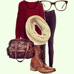 Such a cute hipster outfit!! I love the scarf and sweater, mostly i love the womens's brown combat boots! Perfect for fall or winter