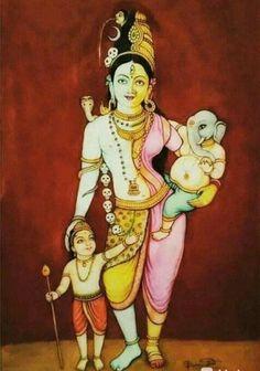 Shiva Art, Ganesha Art, Krishna Art, Hindu Art, Durga Painting, Lord Shiva Painting, Mysore Painting, Indian Goddess, Goddess Art
