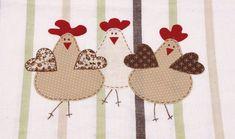 Artesanato com pano de prato - VIX Sewing Appliques, Applique Patterns, Applique Quilts, Applique Designs, Embroidery Applique, Penny Rugs, Patch Quilt, Chicken Quilt, Chicken Pattern