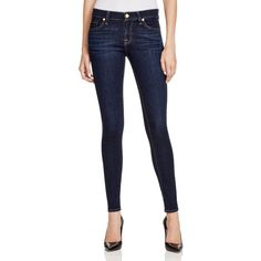 7 For All Mankind Skinny Jeans in Dark Dusk Indigo ($158) ❤ liked on Polyvore featuring jeans, dark dusk indigo, mid-rise jeans, denim skinny jeans, mid rise skinny jeans, mens jeans and dark wash jeans