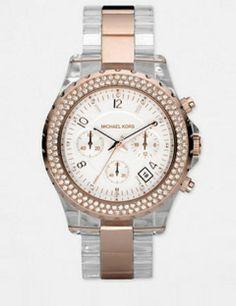 MICHAEL KORS Rose Gold & Acetate Swarovski Crystal Watch