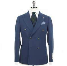 Ring Jacket Creamy Waffle Double Breasted Sportcoat - Blue