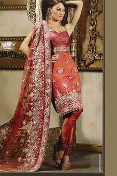 Net Coral Orange Embroidered Wedding Salwar Kameez