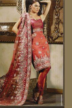 Net Coral Orange Embroidered Wedding Salwar Kameez
