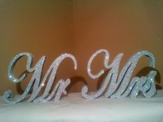 Mr & Mrs sign / Silver Glitter wedding decor by ItsinGlitter, $50.00