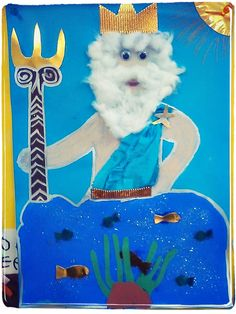 Ancient Greece crafts for kids- Make Poseidon with paper, cotton balls, and paint. Greek Mythology Gods, Greek Gods, Greece Mythology, Greek Myths For Kids, Ancient Greece Crafts, Projects For Kids, Art Projects, Greek Crafts, Cultural Crafts