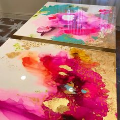 Magenta, pink, aqua, gold large abstract artwork by blueberry glitter!