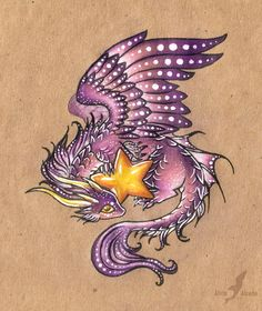 """Star Treasures"" by AlviaAlcedo.deviantart.com on @deviantART 'Some dragons likes to collect gold, but this one likes stars  (:' (pencil and pen)"