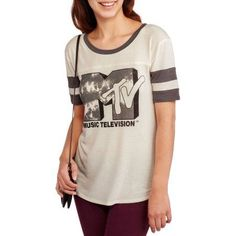"MTV Juniors' ""MTV Logo"" Graphic Short Sleeve Hockey Tee"