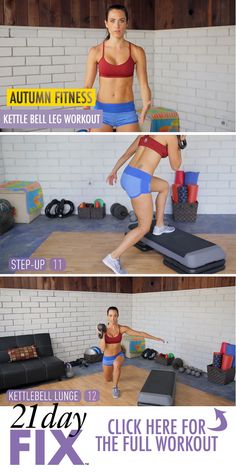 Kettle bell workout, leg workout, autumn fitness, 21 day fix workouts, free workouts Learn more about the 21 Day Fix >> http://www.beachbody.com/product/fitness_programs/21-day-fix-simple-fitness-eating.do?e=204915&TRACKING=SOCIAL_21F_PI