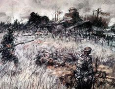 The Tanks at Seicheprey - sketch by Harvey Thomas Dunn - U.S. Army Center Of Military History - Army Art of World War I