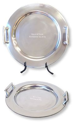 Contemporary Round Guest Bool Platter with Handles.  Instead of old-fashioned paper guest books that age and fade over time, our wedding guest book options become lasting and unique guest books individually signed by guests with their names and well wishes to the new couple.