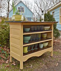 Additional Kitchen Storage and Counter Space - an unused dresser with missing drawers is updated with a coat of paint and is now the perfect, inexpensive storage option. This is a great fix for a renter and when you move, you take it with you - Heir and Space:  An Antique Dresser Turned Kitchen Island