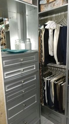 Small closet makeover. Painted  with silver paint.