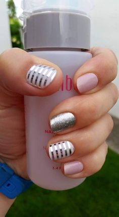 Cute Pink Nails, Pretty Nails, Pastel Nails, Nails 2017, Striped Nails, Metallic Nails, Jamberry Nail Wraps, Color Street Nails, Fabulous Nails