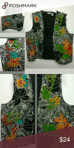 """Chico's Artsy Vest Embroidered Embellished Size 2 Chico's Artsy Vest Embroidered Embellished Art to Wear Cotton Sleeveless Size 2  Excellent - Good Condition!   Front and back embroidery, stitching, lace, fabric  13.25"""" Under Arm to Bottom Hem      21"""" Pit to Pit (Wide)  Size : 2 Chico's Tops"""