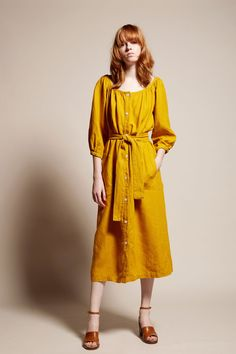 No.6 Sonia Dress in Gold Linen