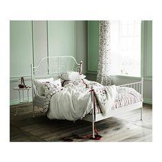 "LEIRVIK Bed frame - Full, Luröy - IKEA - Product dimensions Length: 78 3/4 "" Width: 56 1/4 "" Footboard height: 38 5/8 "" Headboard height: 57 1/2 "" Mattress length: 74 3/8 "" Mattress width: 53 1/8 """