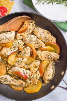Sauteed chicken and apples with rosemary - Family Food on the Table