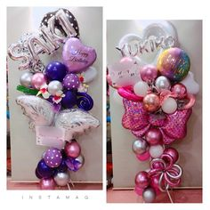 An amazing way to personalize someone's special day with balloons! Balloon Bouquet, Balloon Garland, Balloon Decorations, Mini Balloons, Balloons And More, Balloon Basket, Christmas Balloons, Balloon Arrangements, Ideas Para Fiestas