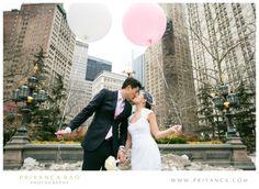 Priyanca Rao Photography | NYC Wedding Shoot #Cityhall #winterwedding #snowshoot #balloons