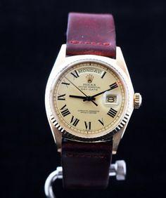 Mens Vintage ROLEX Day-Date PRESIDENT 18k Yellow Gold BUCKLEY Dial 1807 1970 #Rolex #LuxuryDressStyles