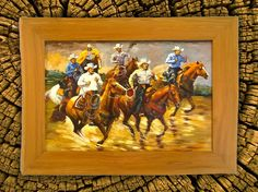 VAQUEROS! ORIGINAL HAND PAINTED OIL ON CANVAS WITH HAND CRAFTED CYPRESS WOOD FRAME. El Vaqueros - The Cowboys is a tribute I painted to the Western artists of old in an impressionist style with bold brush strokes. The palette is warm and vivid, having a nice lustrous varnish. This painting would be an incredible accent to contemporary, rustic, country, or Southwest decor. Gallery Investment Value (Framed) $15,500! By ordering directly from me - the artist, I save on commissions and can…