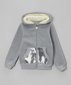 Take a look at this Gray Sequin Sherpa Zip-Up Hoodie - Girls by Longstreet on #zulily today!
