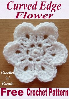 Top 12 A free crochet flower motif pattern with a curved edge, use to decorate bags, purses, afghan blankets or clothing, works up This curved edge flower is an easy and quick design I am sure you will love. Crochet flowers are great if you want to whip u Crochet Puff Flower, Crochet Flower Tutorial, Crochet Flowers, Diy Flowers, Crochet Hearts, Flower Ideas, Crochet Gifts, Knit Crochet, Blanket Crochet
