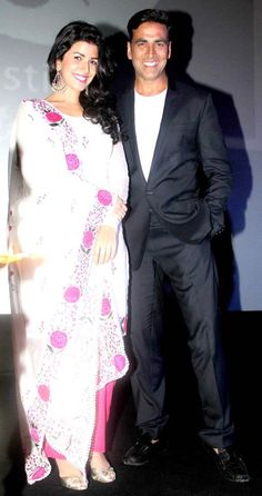 Akshay Kumar with 'The Lunchbox' actress Nimrat Kaur at the Jagran Film Festival #Bollywood #Fashion #Style